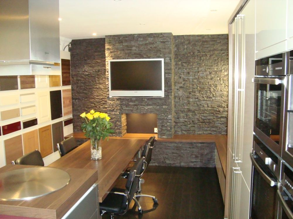 Pictures courtesy creative designs Ayr ltd (Dreamwall slate used in a kitchen design)