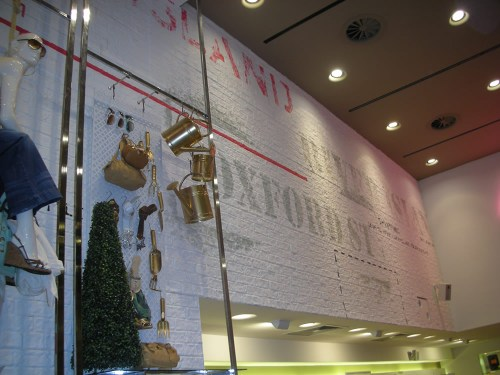 River Island 'Rustic Brick' installation in the Oxford Street London flagship store