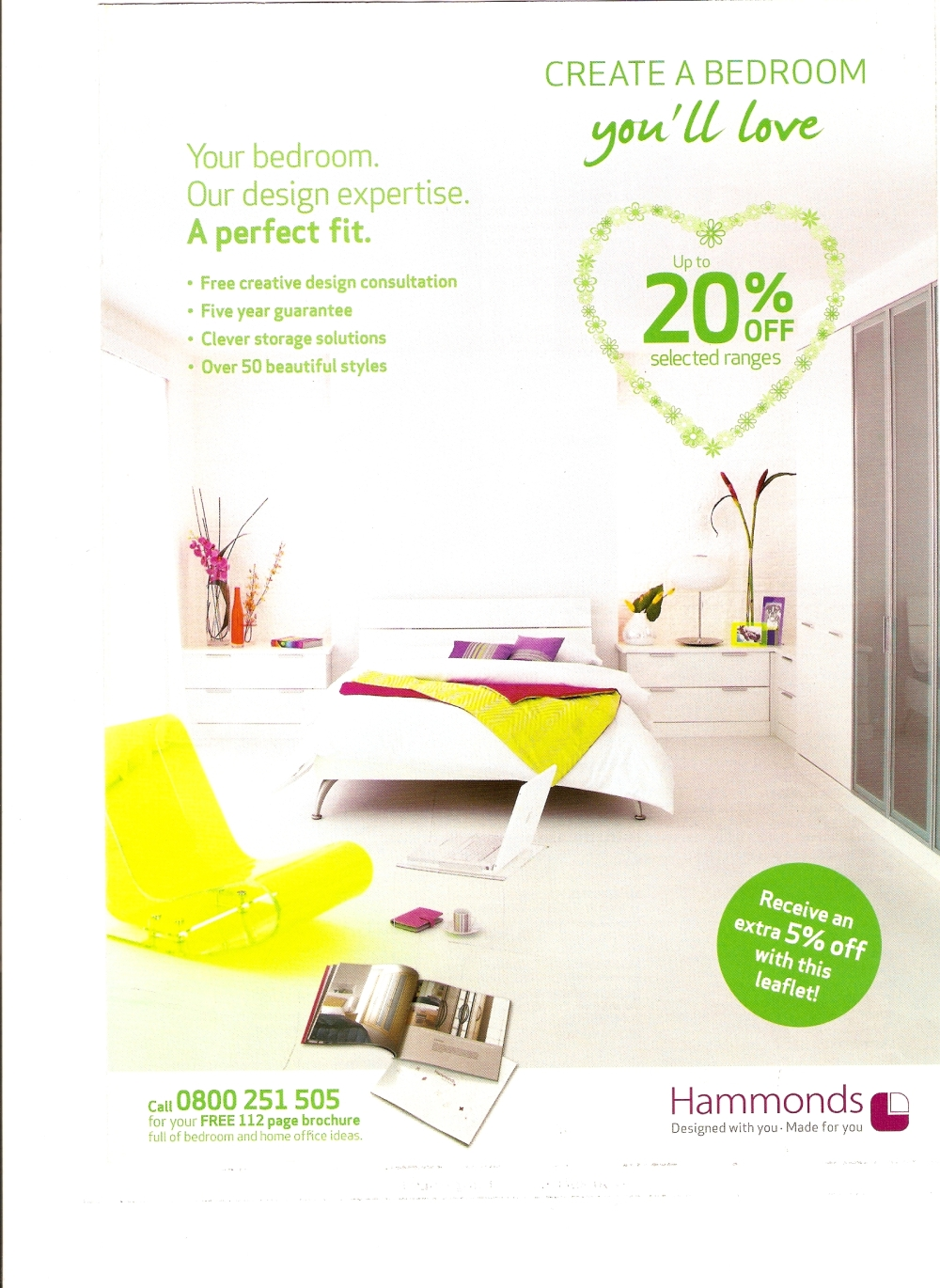 The original Hammonds advert using Rustic Brick as the backdrop for Hammonds contemporary range Horizon white
