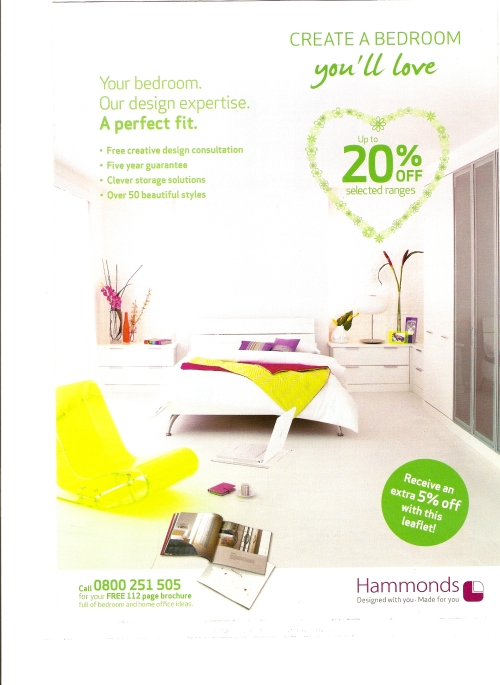 The original Hammonds advert using Rustic Brick as the backdrop for Hammonds contemporary range Horizon white