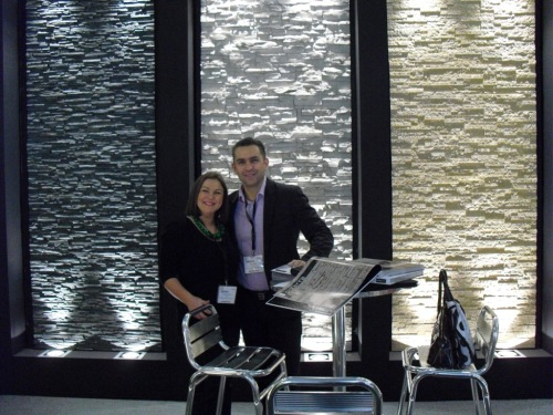 Alex and I on our stand at Surface Design