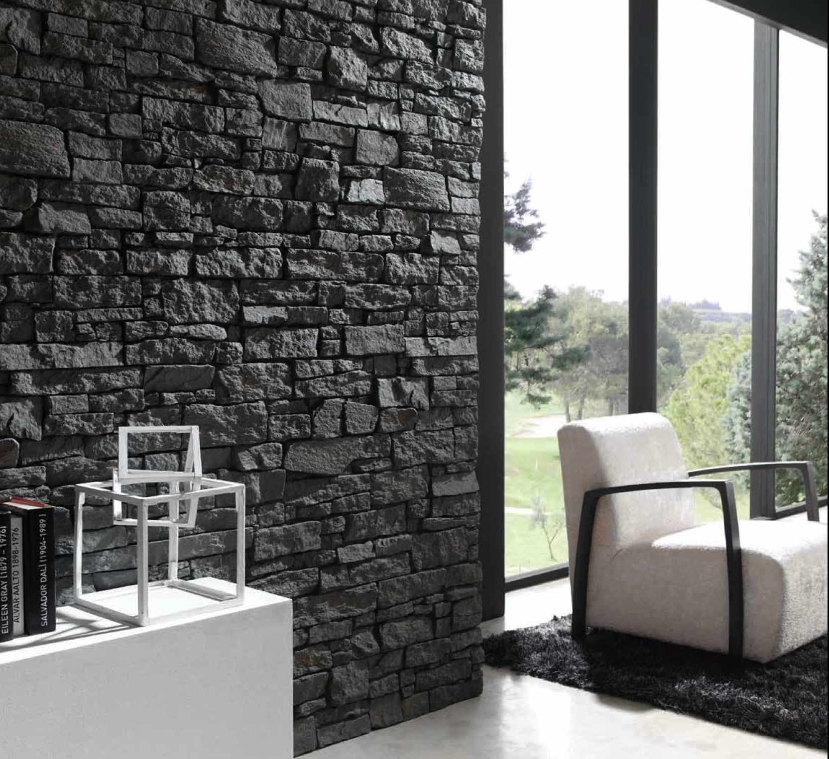 Imitation slate walls dreamwall wallcoverings with a for Inside wall design