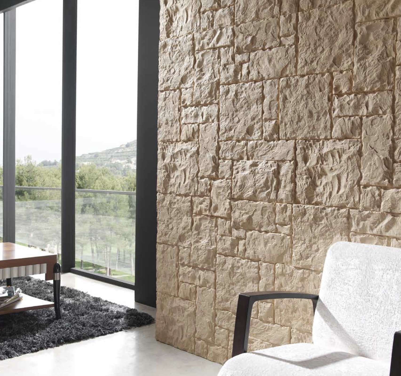 Total stone walling dreamwall wallcoverings with a - Paredes de piedra para interiores ...