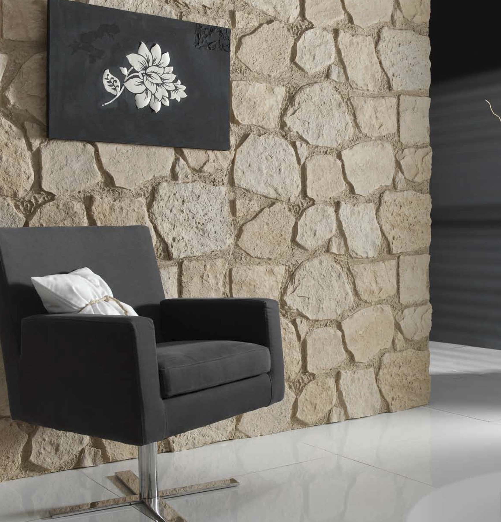 Interior stone panels dreamwall wallcoverings with a - Panel piedra interior ...