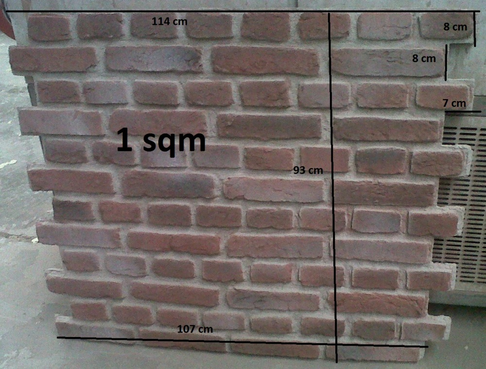 Here is an actual panel of the Farmers Brick before installation each panel is 1sqm