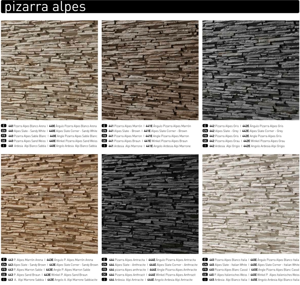 Pizarra Alpes Six colour options