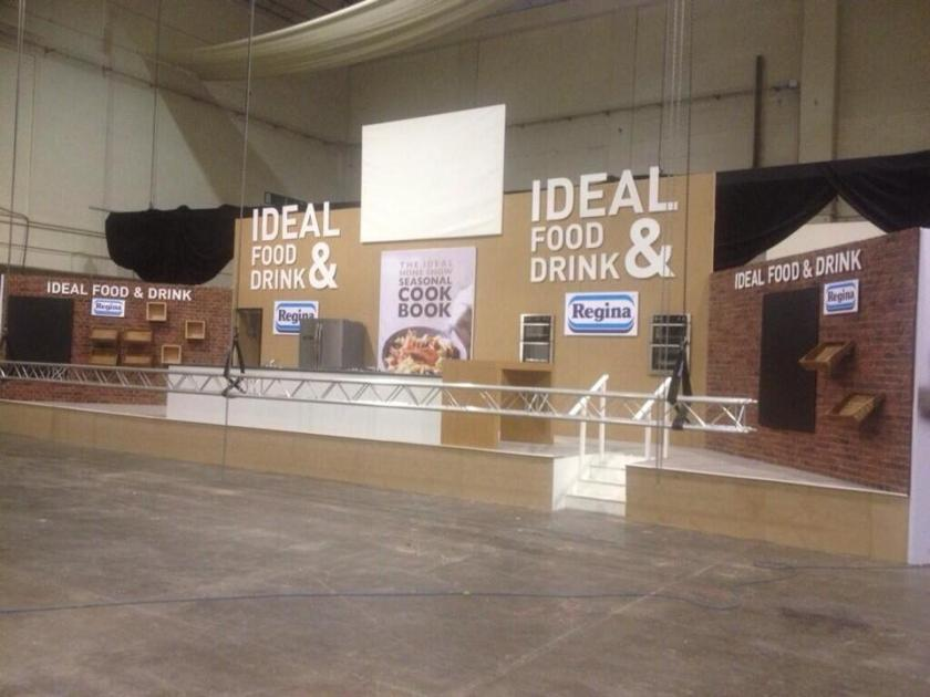 Dreamwall Faux Red English Brick panel installed at the Ideal Home Show in the Ideal Food and Drink feature area