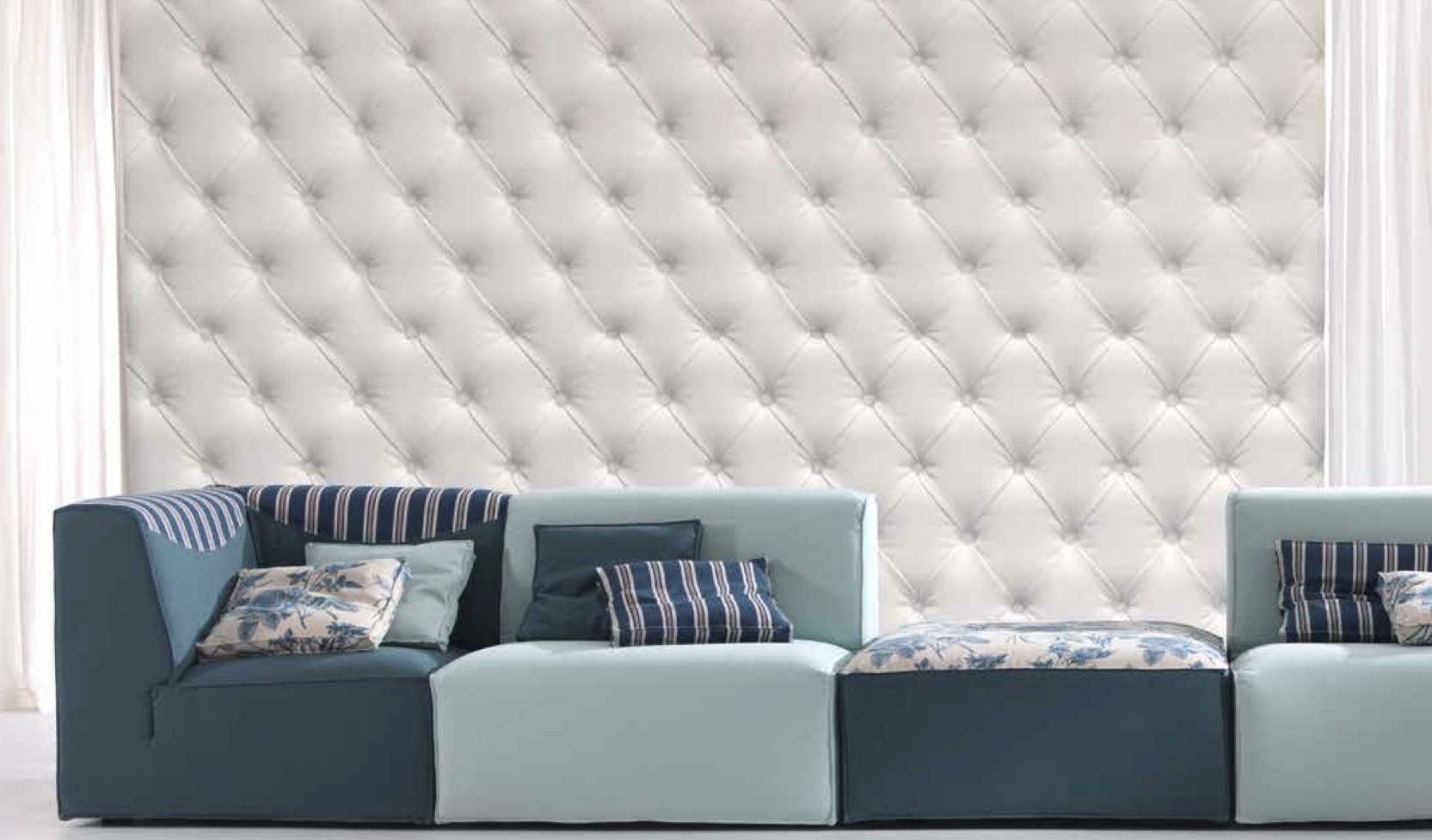 Gran capitone panels dreamwall wallcoverings with a for Padded wall wallpaper