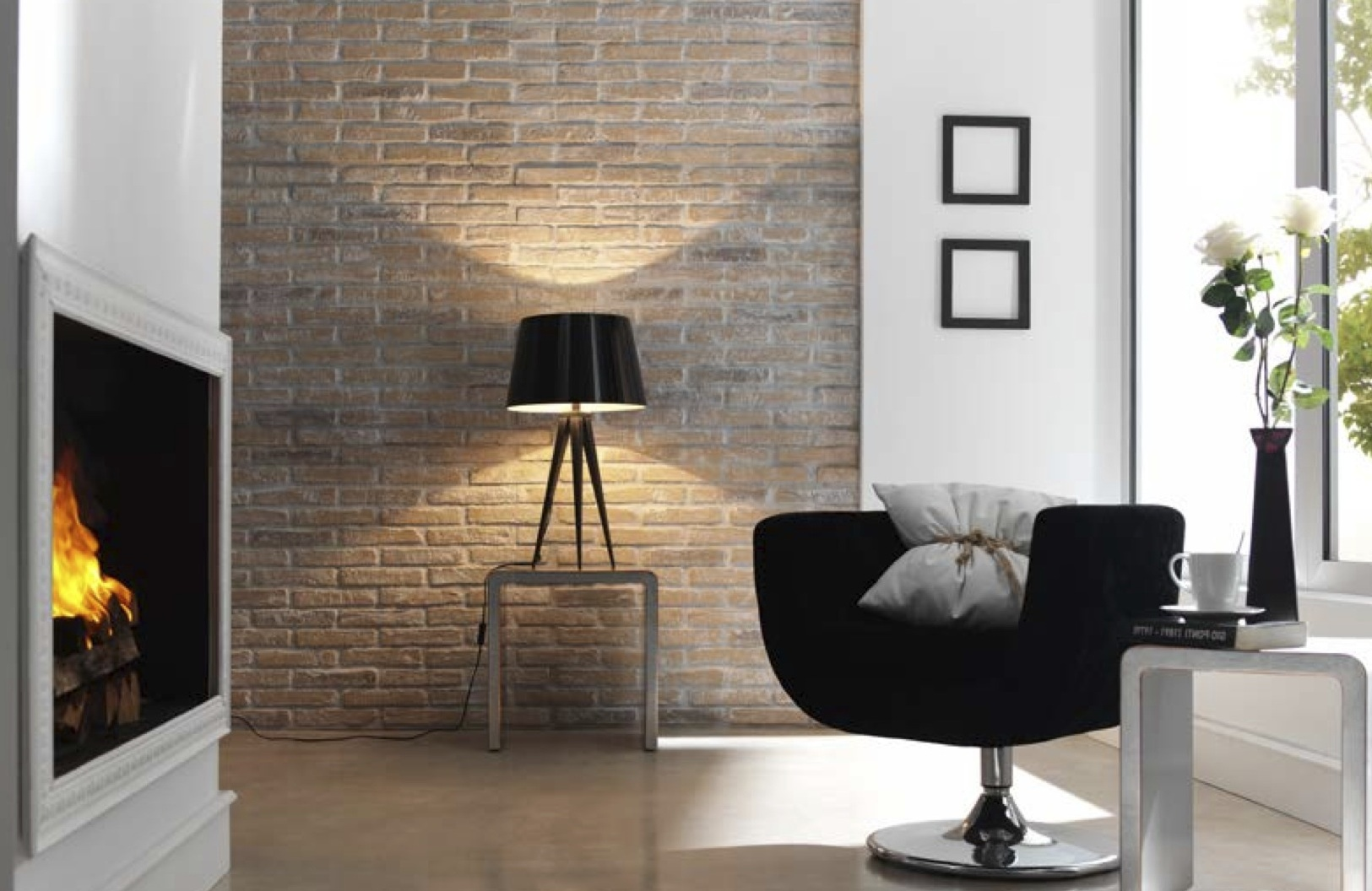 Earthy Whitewashed FAUXBRICK Rustic Brick Wall Panels