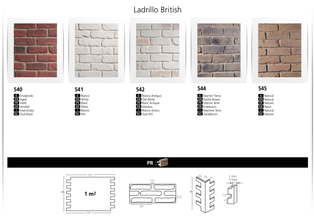 LADRILLO BRITISH FAUX BRICK WALL BOARDS