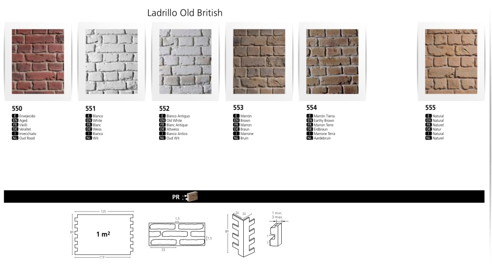LADRILLO OLD BRITISH FAUXBRICK WALL BOARDS