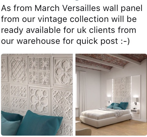 Versailles wall panels from the vintage collection
