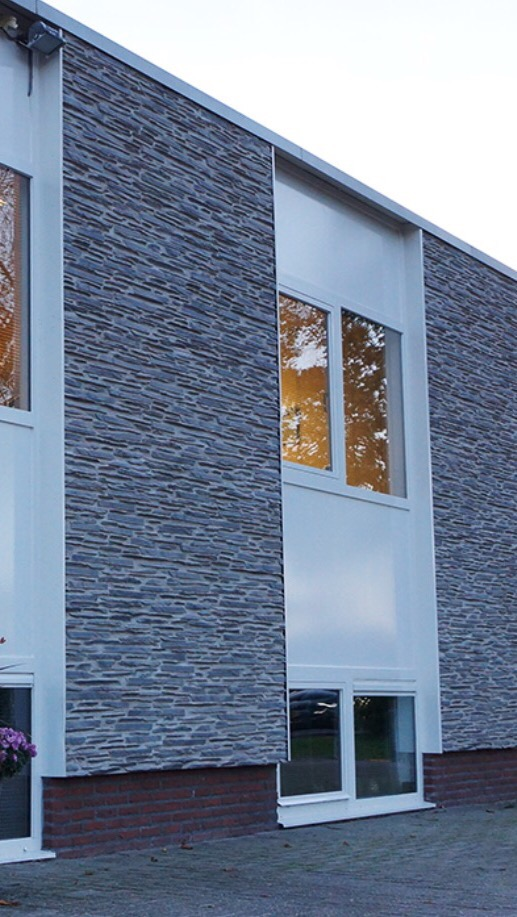 Decorative stone panels used as a Facade