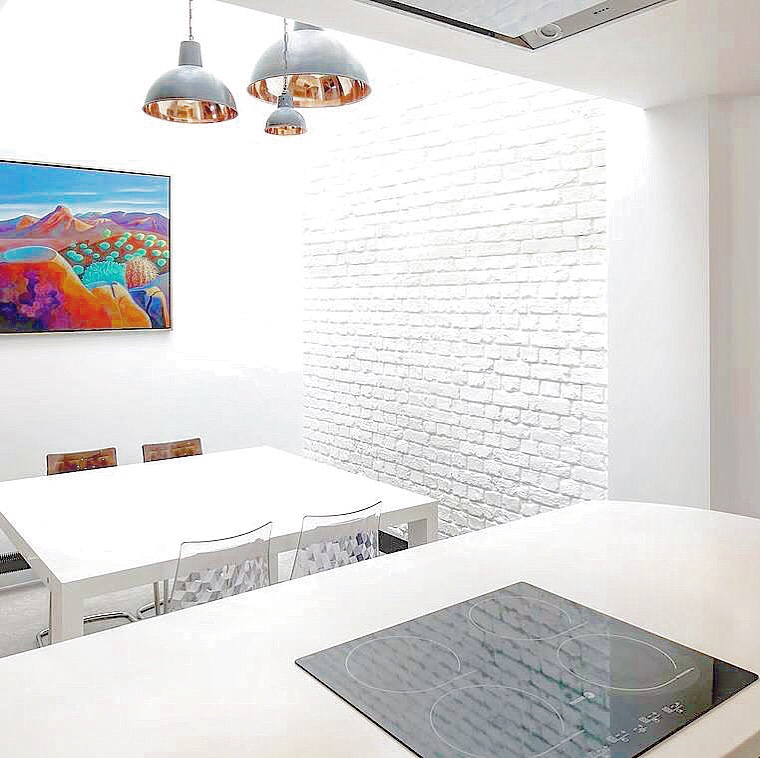 Faux white brick wall panels from Dreamwall